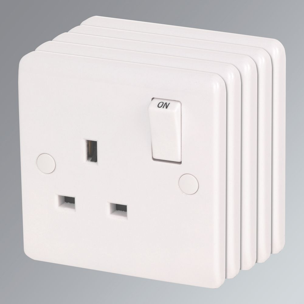 LAP 13A 1-Gang DP Switched Plug Socket White Pack of 5