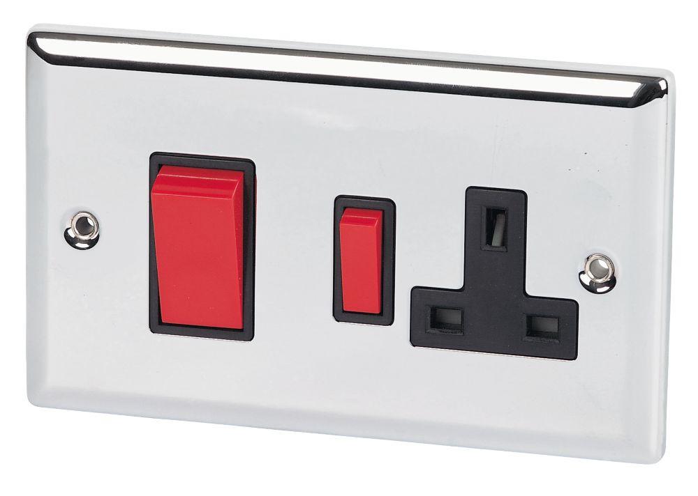 Volex 45A DP Switch /13A Socket Blk Ins PC Angled Edge