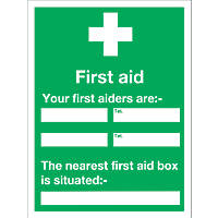 """First Aider"" Notice Sign 200 x 150mm"