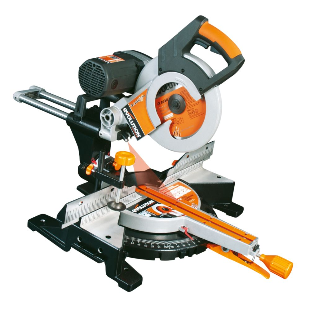 Evolution RAGE3-DB 255mm Double Bevel Sliding Mitre Saw 110V