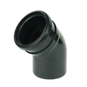 Floplast sp163 135 bend single socket black 110mm soil for 82mm soil pipe