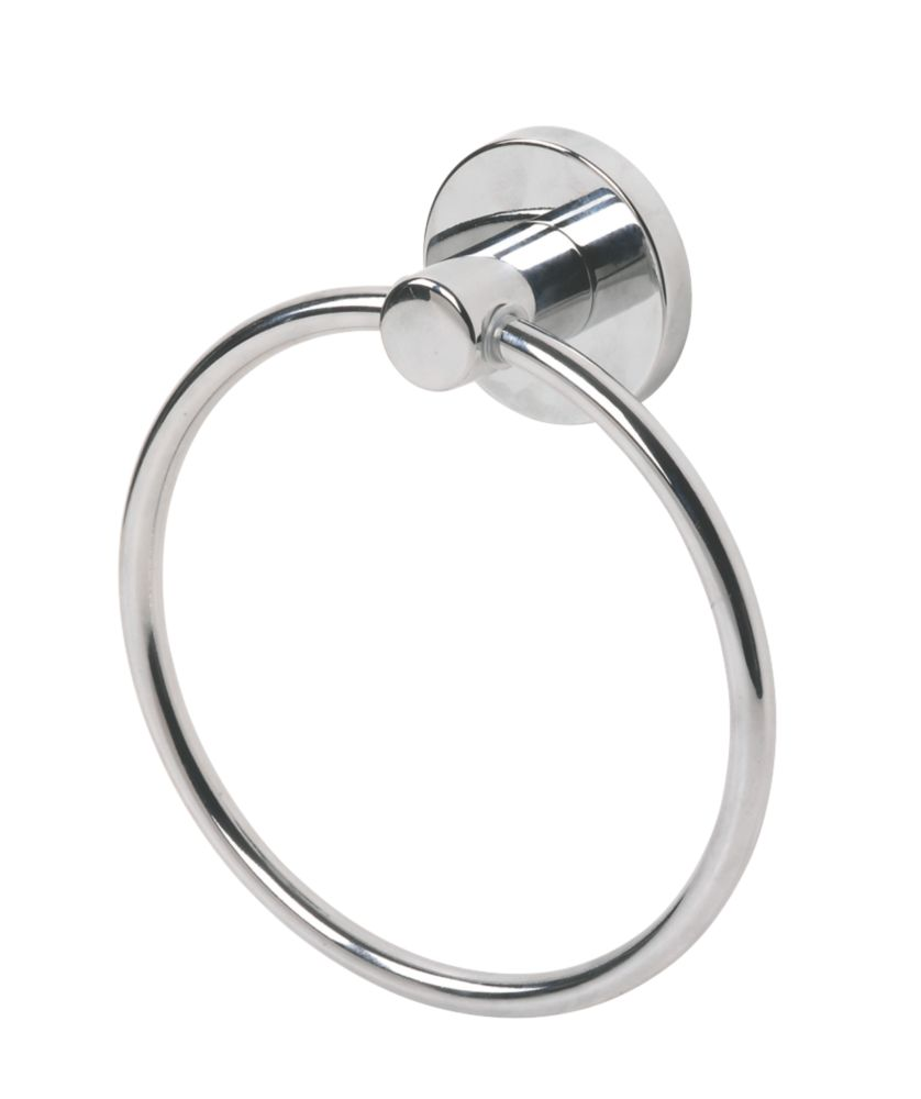 Swirl Cirque Bathroom Towel Holder Ring Chrome-Plated