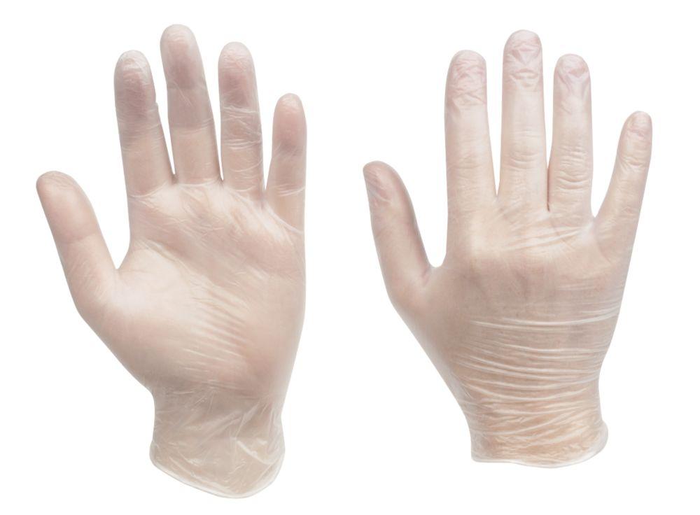 Clean Grip Vinyl Disposable Gloves Clear Medium Pack of 100
