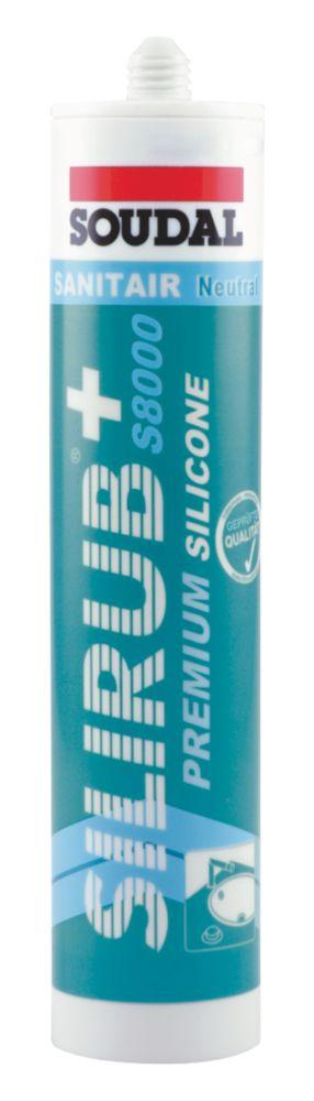 Soudal Silirub+ Premium Silicone Adhesive & Sealant Brilliant White 310ml
