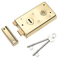 Eurospec Rim Lock Polished Brass 145 x 80mm