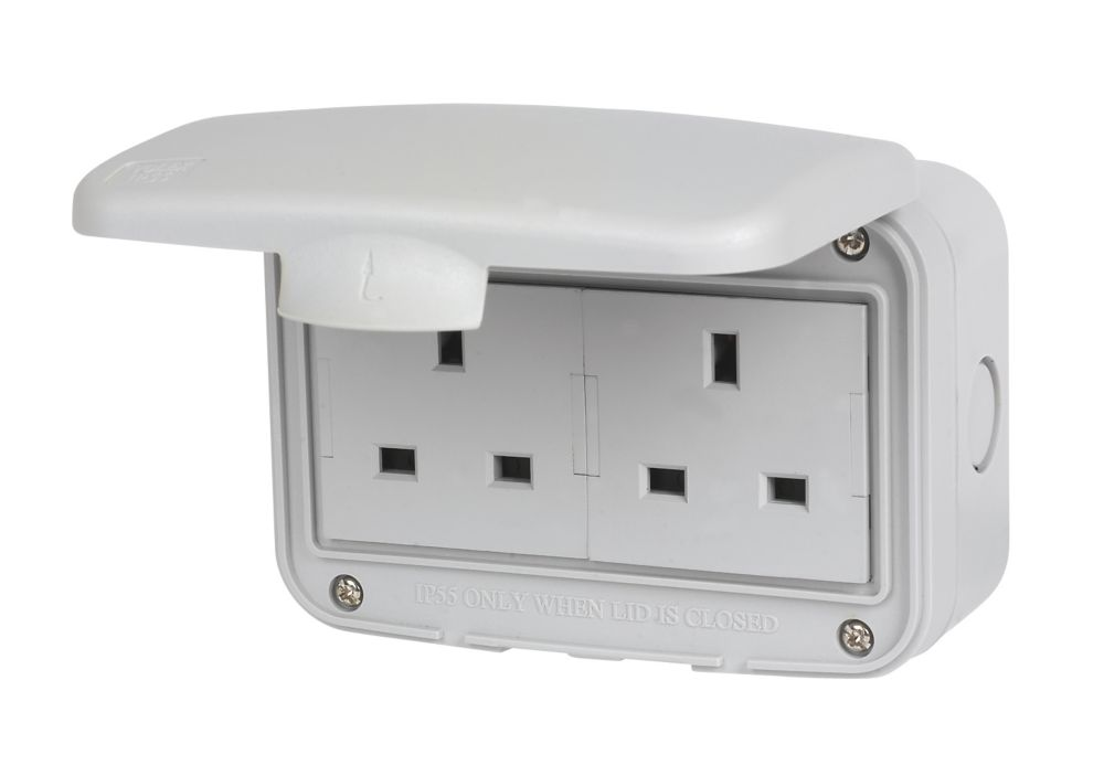 IP55 13A 2 Gang Unswitched Socket