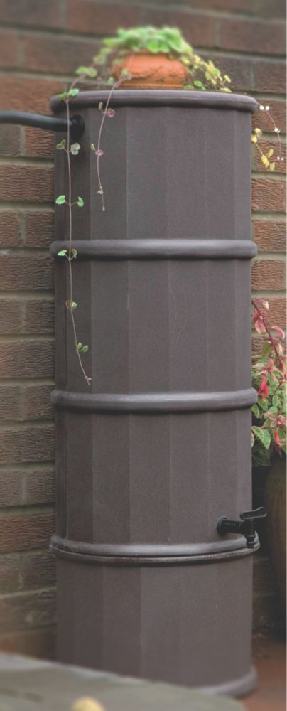 Polytank Decorative Water Butt Dark Oak Effect 110Ltr