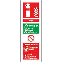Water Extinguisher ID Signs 280 x 90mm 100 Pack