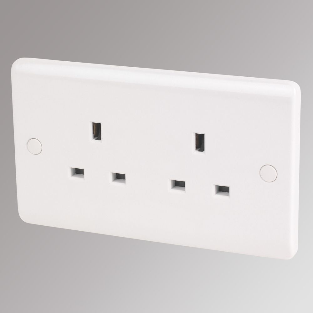 LAP 13A 2-Gang Unswitched Plug Socket White