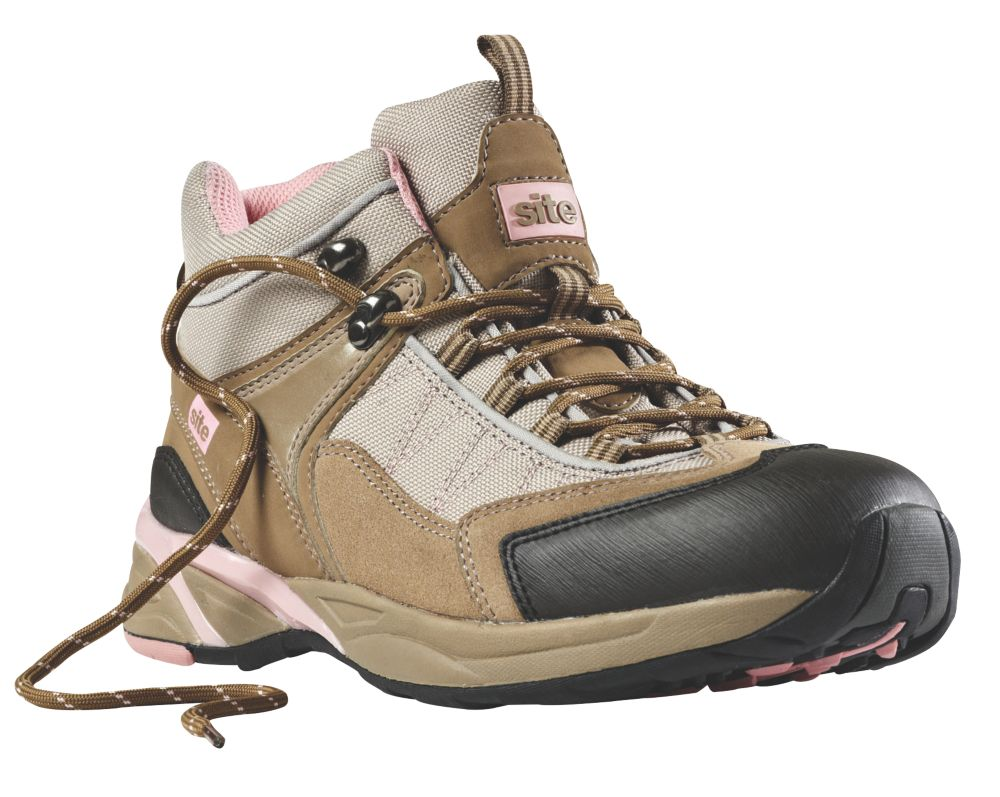 Site Ladies Safety Trainer Boots Beige Size 8