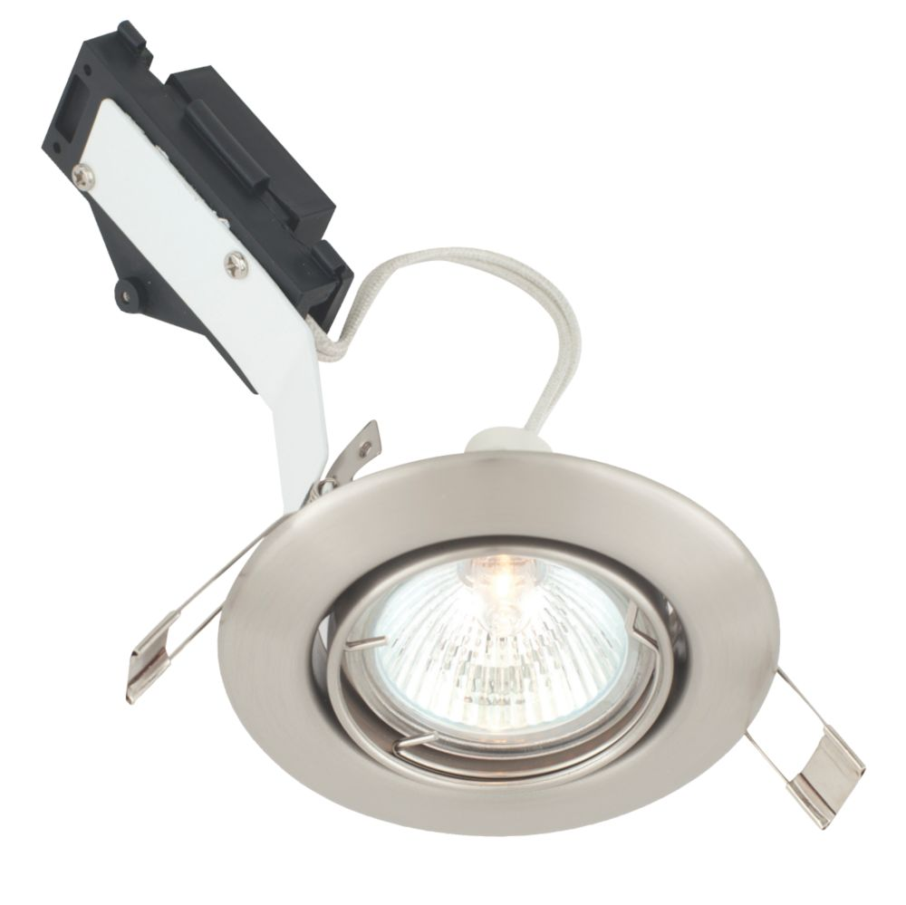 LAP Tilt Round Low Voltage Downlight Brushed Chrome Effect 12V