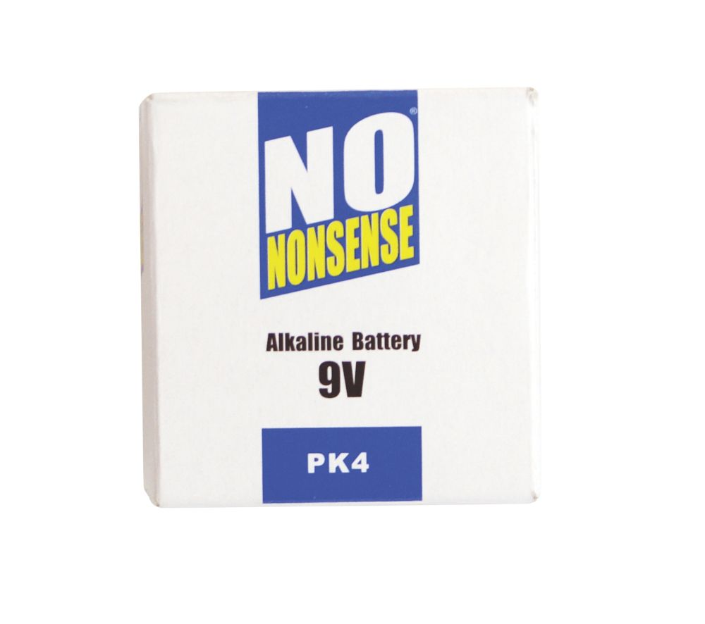 No Nonsense Alkaline Batteries 9V Pack of 4