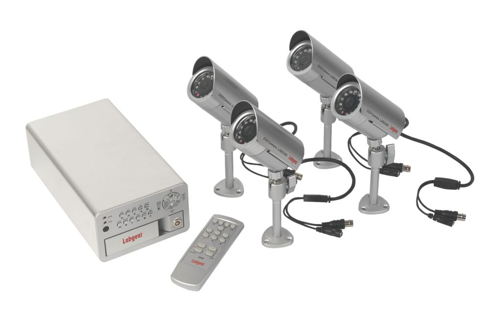 Labgear CCTV 4-Cameras & 4-Channel DVR Recorder Kit