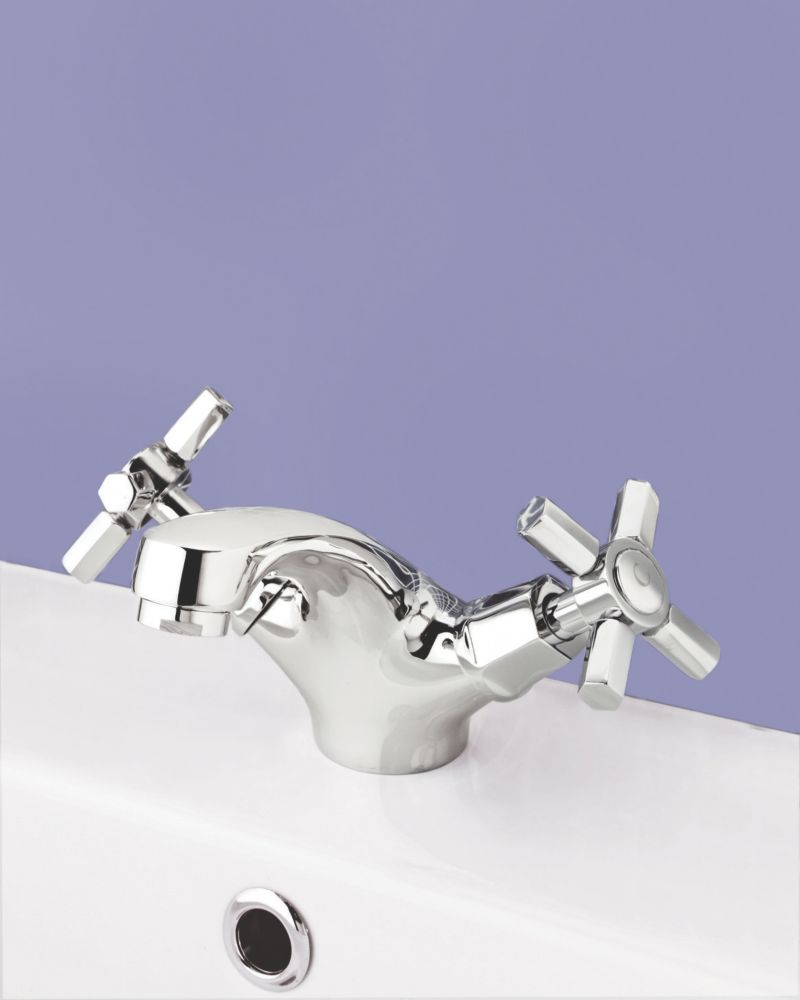 Swirl Deco Bathroom Basin Mono Mixer Taps with Pop up Waste