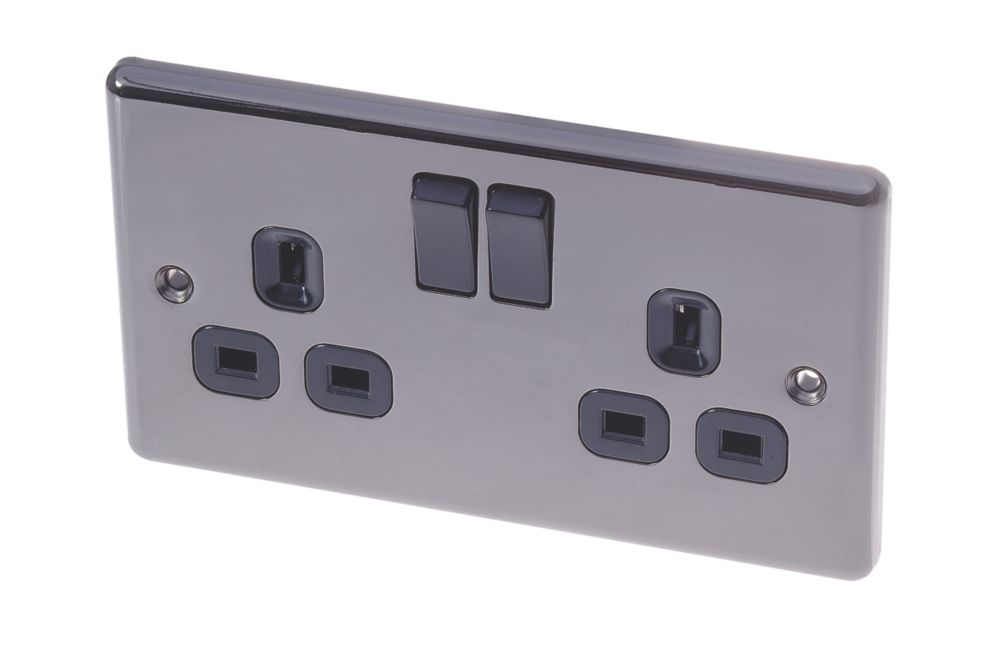 LAP 13A 2-Gang DP Switched Plug Socket Black Nickel
