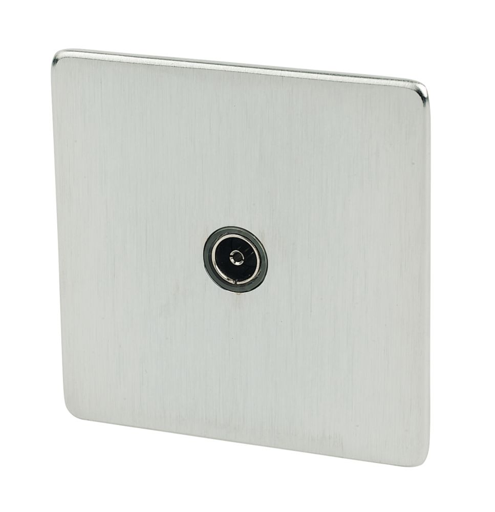 Crabtree 1-Gang TV Socket Brushed Chrome