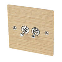 Varilight 10A SP 2-Gang 1/2-Way Toggle Switch Solo Wood Oak