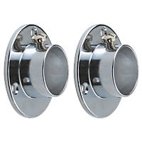 Rothley Colorail Wardrobe Rail End Supports Polished Chrome 25mm 2 Pack