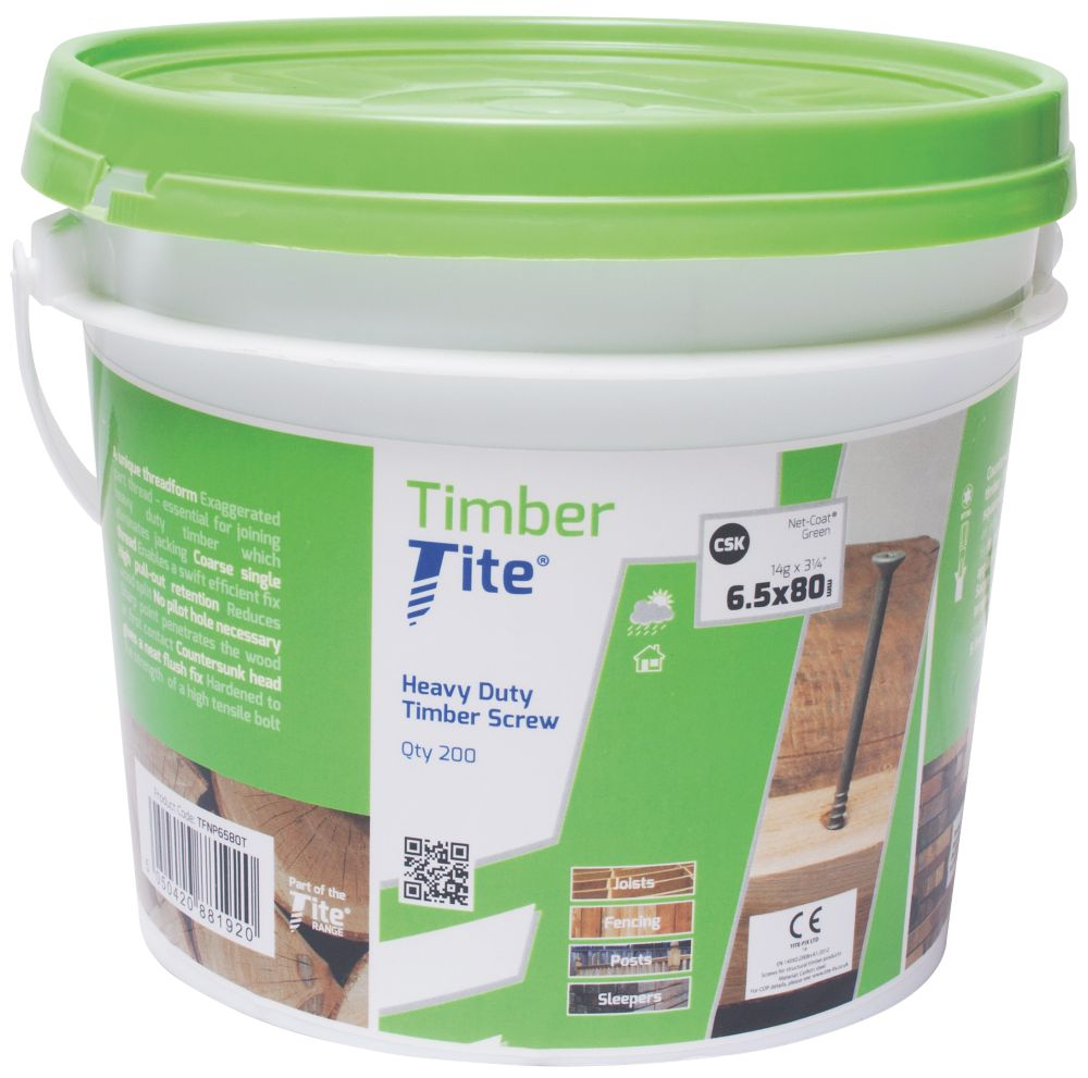 Timber-Tite Countersunk Screws Bucket 6.5 x 80mm Pack of 200