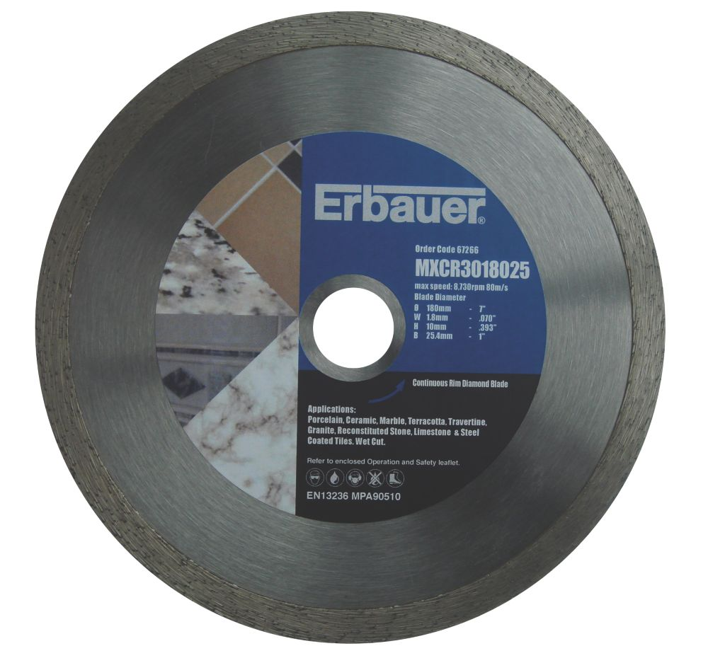Erbauer Diamond Tile Blade 180mm x 25.4mm Bore