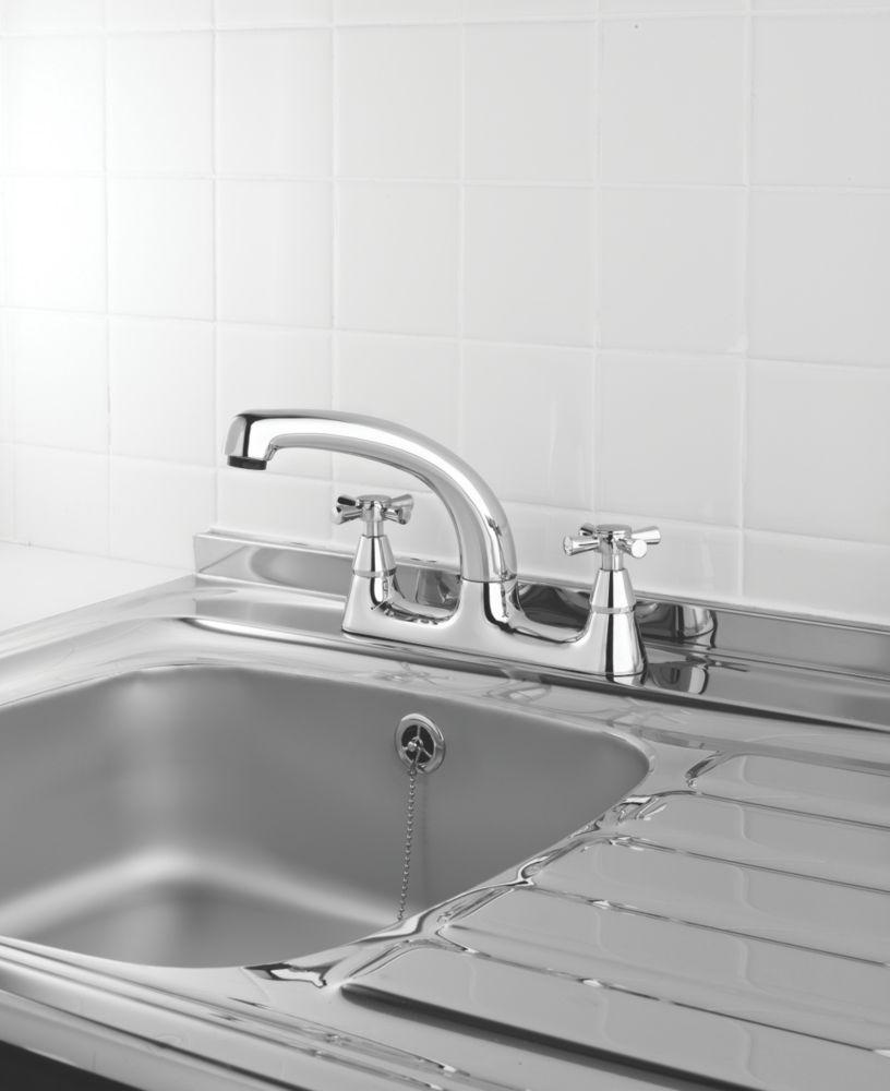 Swirl Quadra Deck Sink Mixer Kitchen Tap Chrome
