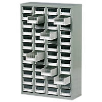 Steel Drawer Cabinet with 48 Bin Trays 586 x 222 x 937mm Grey