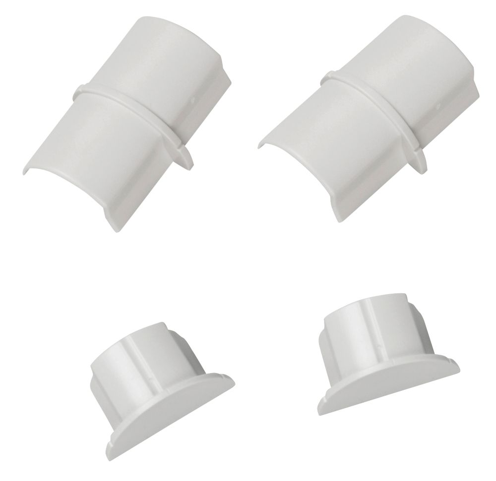 Smooth-Fit Connector & End Cap Pack 30 x 15mm White 4Pcs