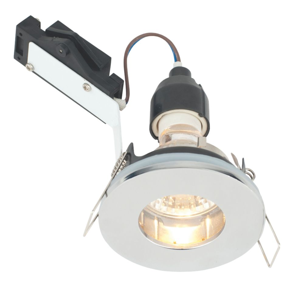 LAP Fixed Round Mains Voltage Bathroom Downlight Chrome Effect 240V