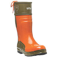 Site  Chainsaw Safety Boots Orange/Green Size 8