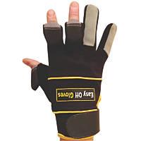 Easy Off Fold-Back Finger Tip Gloves Black Medium