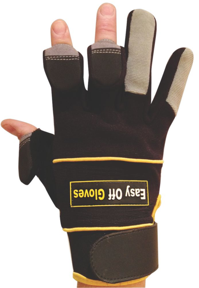 Easy Off General Handling Fold-Back Finger Tip Gloves Black Large