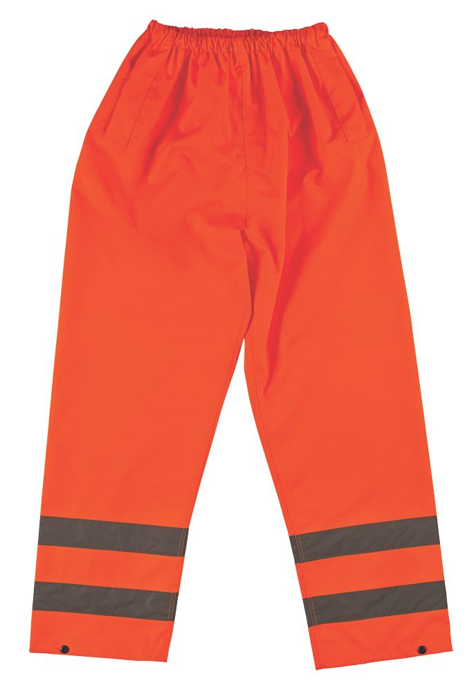 "Hi-Vis Elasticated Reflective Trousers Orange XX Large 72-127cm W 31"" L"