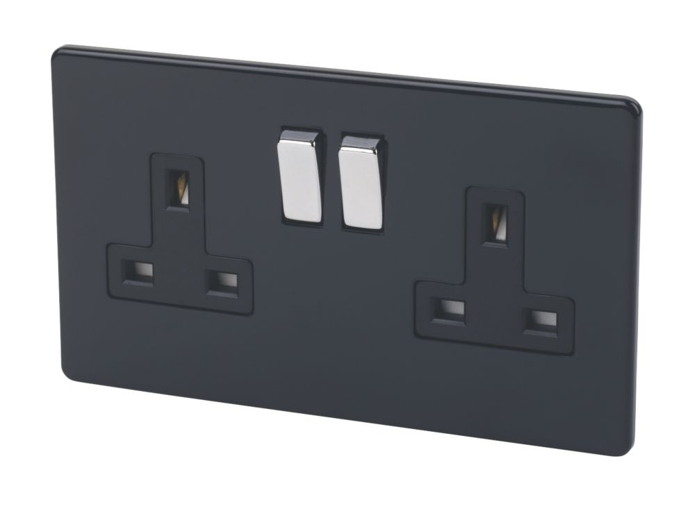Varilight 2-Gang 13A Double Pole Jet Black Switch Socket with Metal Rocker