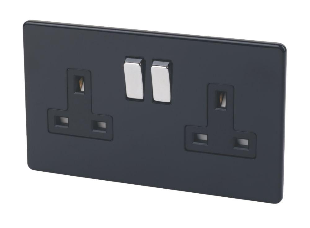 Varilight 2-Gang 13A Double Pole Jet Black Switch Socket with Metal Rocker
