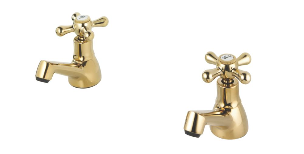 Swirl Traditional Bathroom Basin Taps Gold Pair