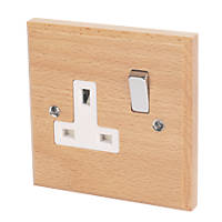 Varilight 13A DP 1-Gang Switched Socket Scandic Beech