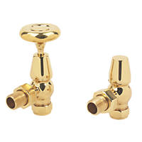Brass Traditional Angled Radiator Valve & Lockshield 15mm