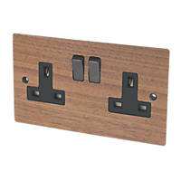 Varilight 13A DP 2-Gang Switched Socket Solo Wood Walnut