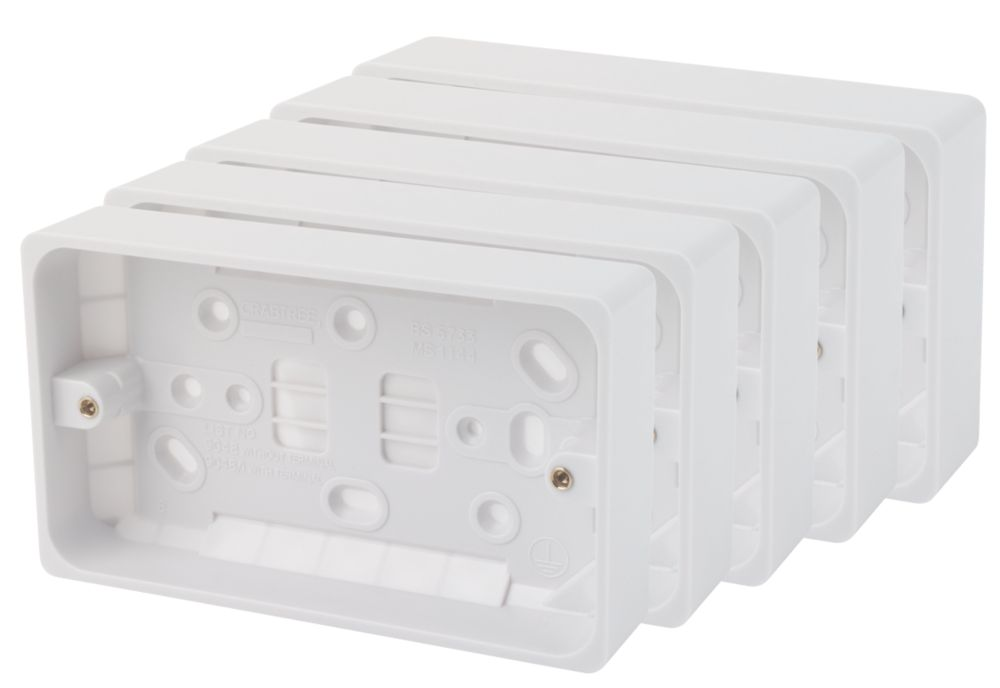 Crabtree 2-Gang Surface Pattress Box White 29mm Pack of 5