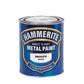 Hammerite Smooth Metal Paint White 750ml Metal Paints