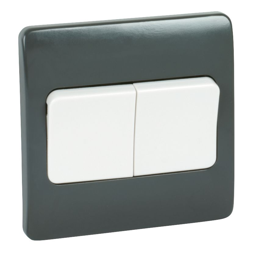 MK Logic Plus 2-Gang 2-Way 10AX SP Light Switch with Wide Rocker Graphite