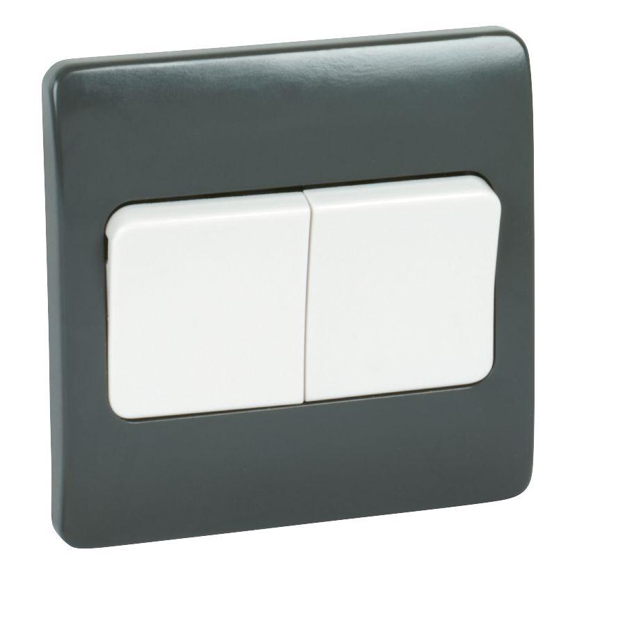 MK Logic Plus 2-Gang 2-Way 10AX SP Light Switch with Wide Rocker Graphite