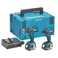 Makita DLX2007MJ 18V 4.0Ah Li-Ion LXT Brushless Cordless Combi Drill & Impact Driver Twin Pack