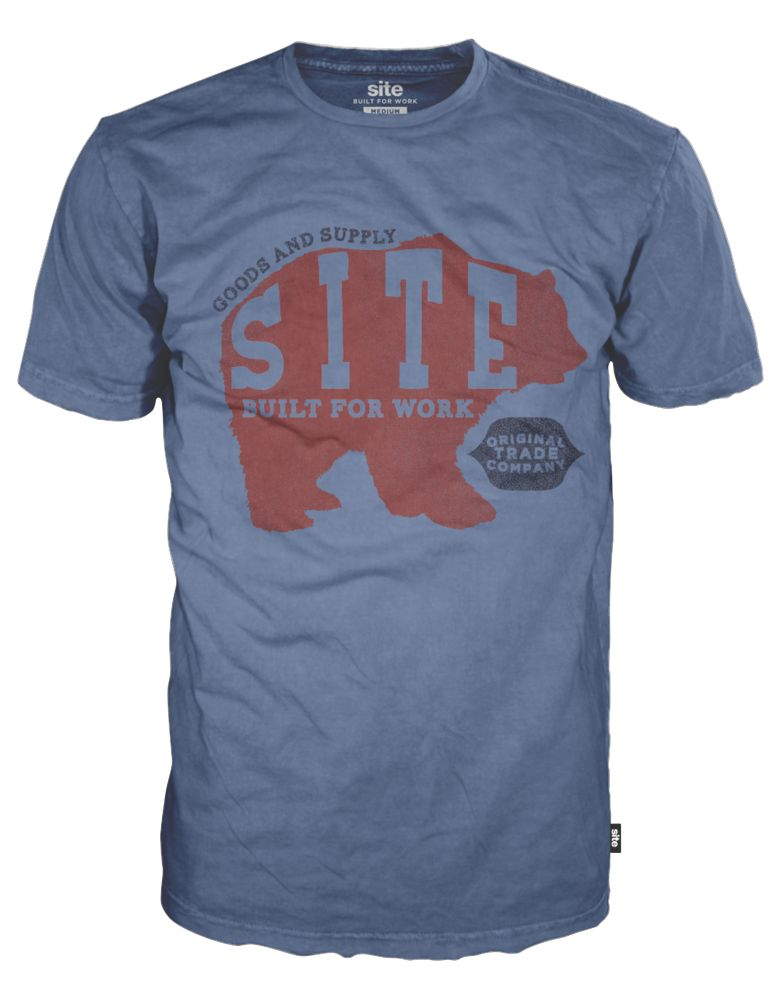 "Site Bear T-Shirt Blue Large 42-45"" Chest"