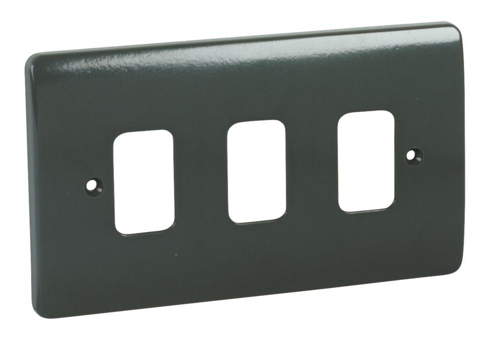 MK 3-Gang Moulded Front Plate Graphite