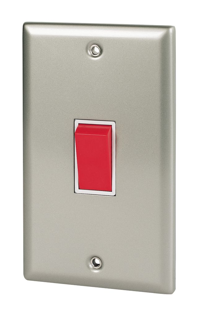 Volex 45A DP Switch Wht Ins Satin Chrome Angled Edge