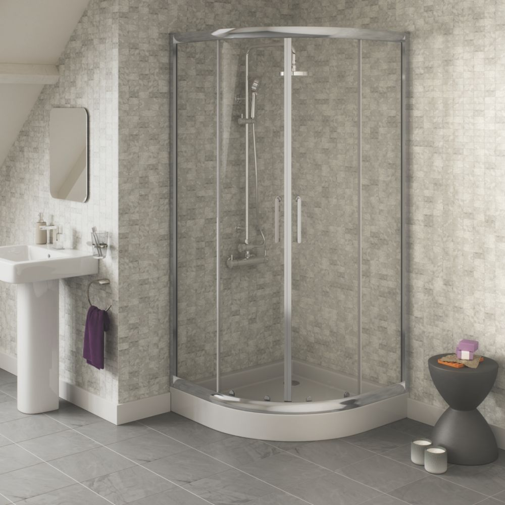 Chrome Effect Quadrant Slider Door Shower Enclosure 900 x 1800mm