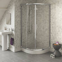 Swirl  Quadrant Shower Enclosure  Silver 900 x 900 x 1800mm