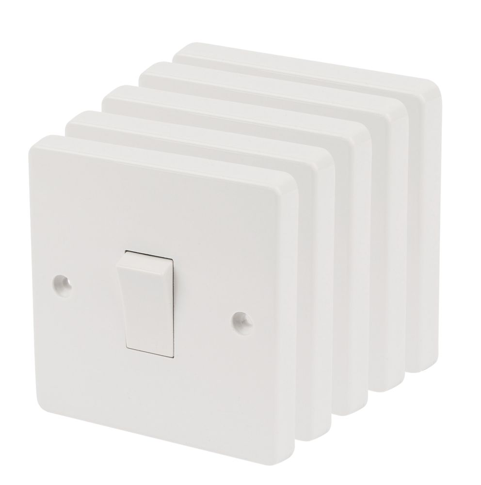 Crabtree 1-Gang 1-Way 10AX Light Switch White Pack of 5