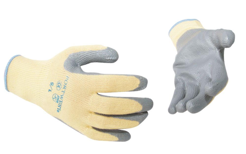 Cut-Resistant Kevlar Nitrile Gloves Grey X Large